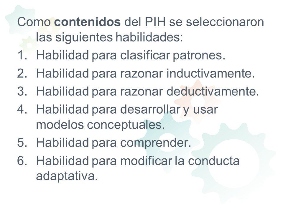 Como contenidos del PIH se seleccionaron las siguientes habilidades: