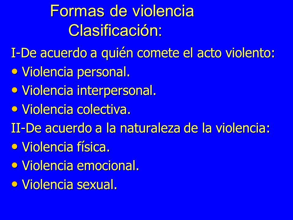 Formas de violencia Clasificación: