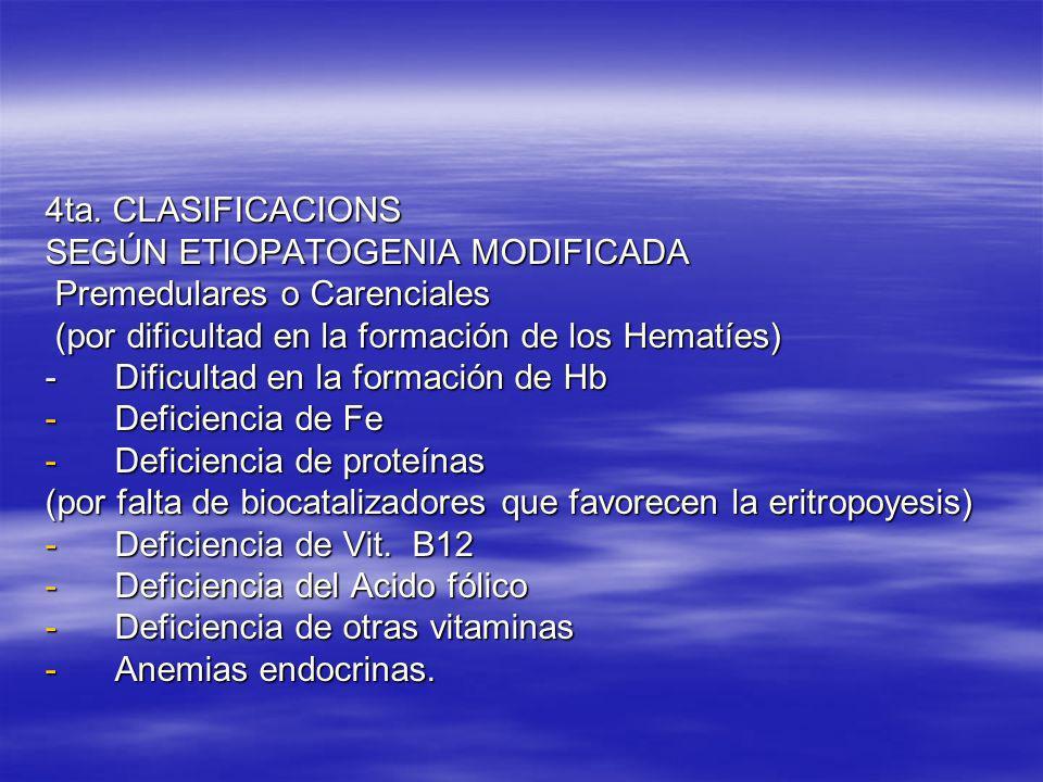 4ta. CLASIFICACIONS SEGÚN ETIOPATOGENIA MODIFICADA. Premedulares o Carenciales. (por dificultad en la formación de los Hematíes)