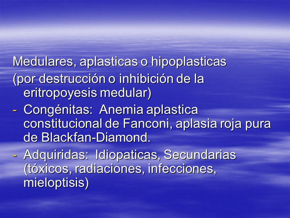 Medulares, aplasticas o hipoplasticas