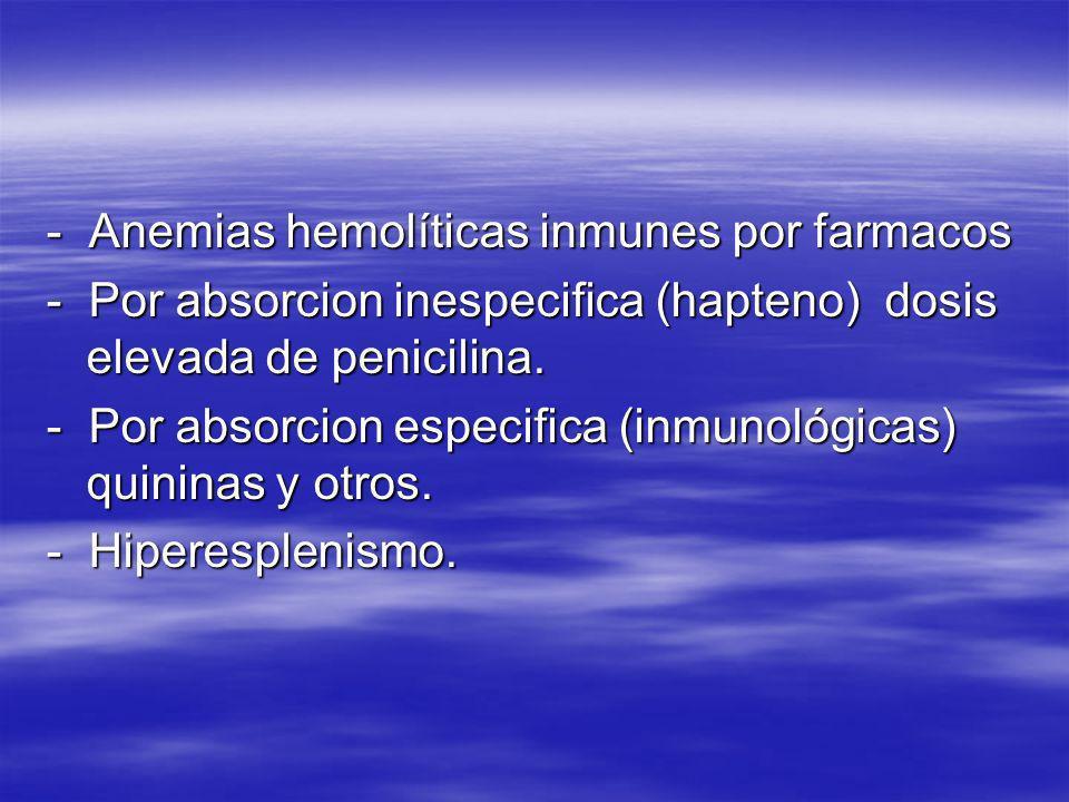 - Anemias hemolíticas inmunes por farmacos