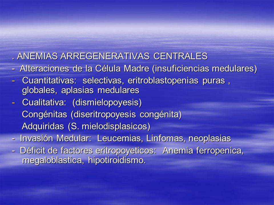 . ANEMIAS ARREGENERATIVAS CENTRALES