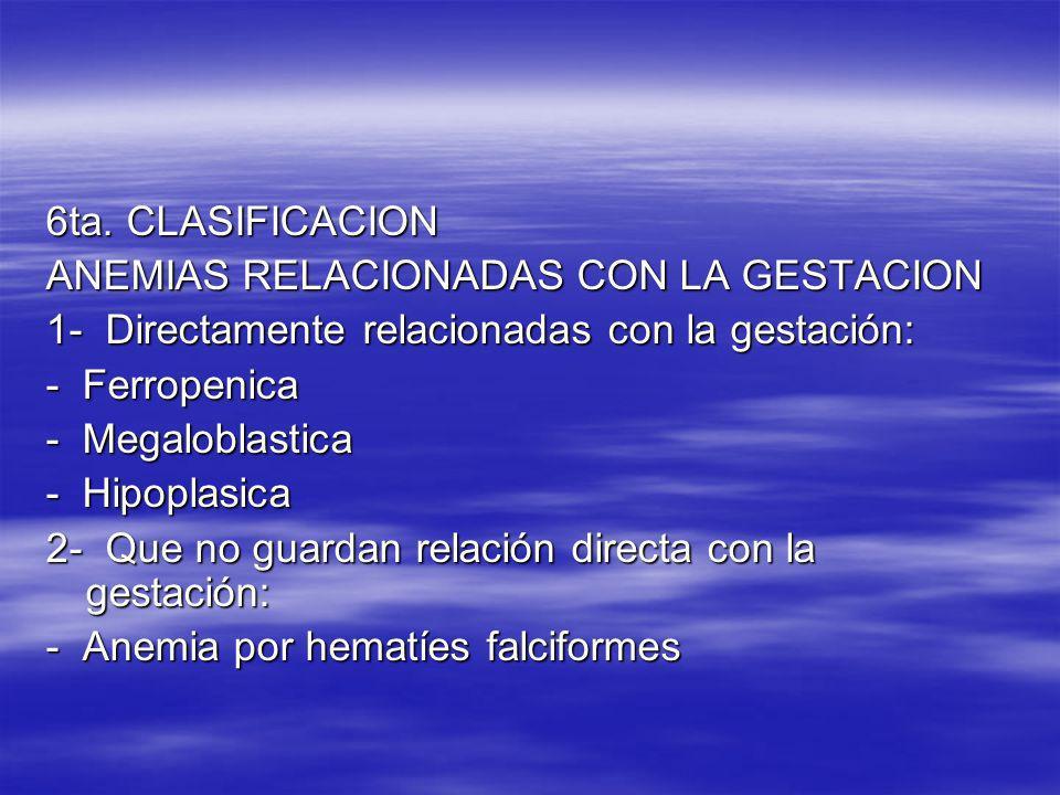 6ta. CLASIFICACIONANEMIAS RELACIONADAS CON LA GESTACION. 1- Directamente relacionadas con la gestación: