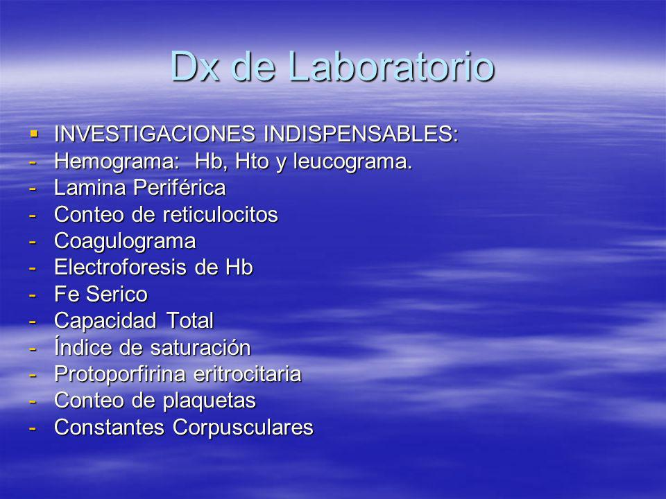 Dx de Laboratorio INVESTIGACIONES INDISPENSABLES: