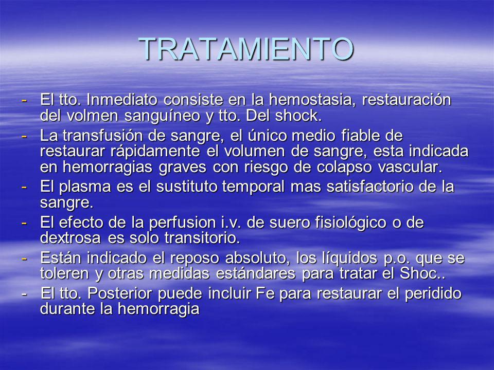 TRATAMIENTOEl tto. Inmediato consiste en la hemostasia, restauración del volmen sanguíneo y tto. Del shock.