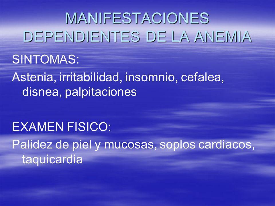 MANIFESTACIONES DEPENDIENTES DE LA ANEMIA