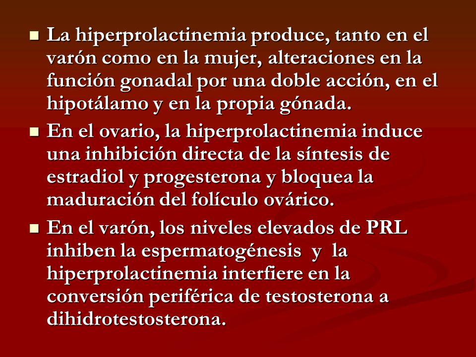 La hiperprolactinemia produce, tanto en el varón como en la mujer, alteraciones en la función gonadal por una doble acción, en el hipotálamo y en la propia gónada.
