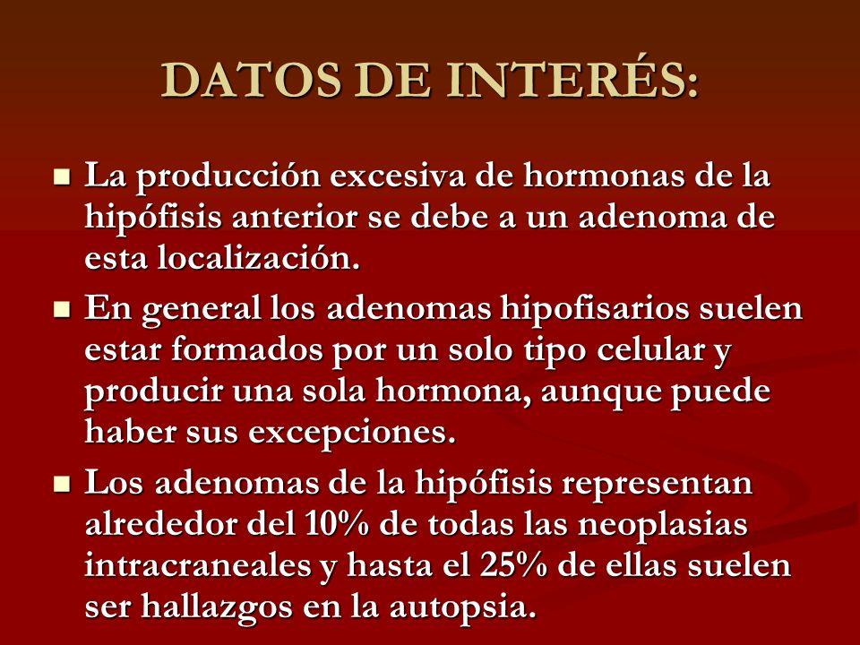 DATOS DE INTERÉS:La producción excesiva de hormonas de la hipófisis anterior se debe a un adenoma de esta localización.