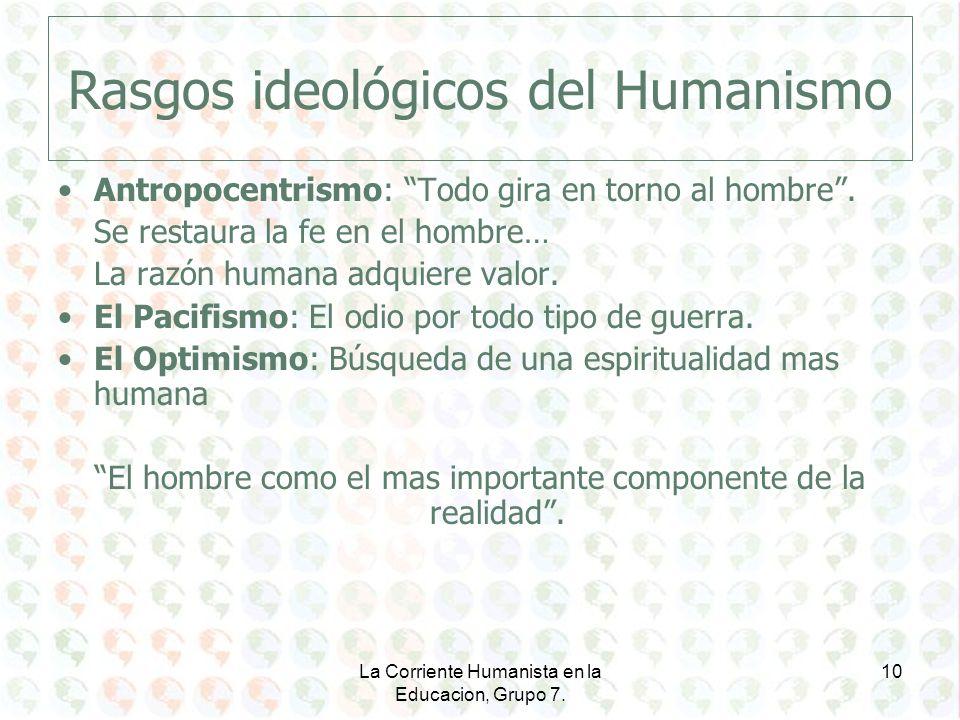 Rasgos ideológicos del Humanismo