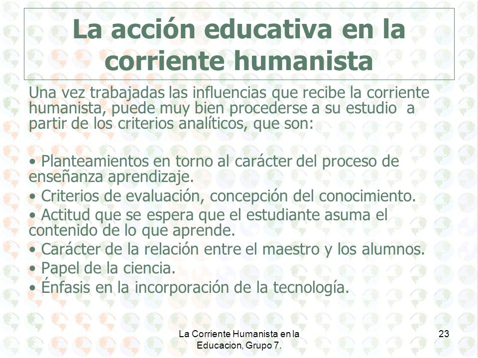 La acción educativa en la corriente humanista