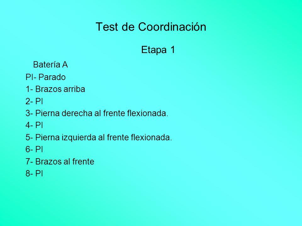 Test de Coordinación Etapa 1 Batería A PI- Parado 1- Brazos arriba