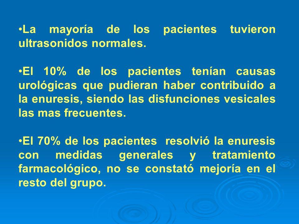 La mayoría de los pacientes tuvieron ultrasonidos normales.