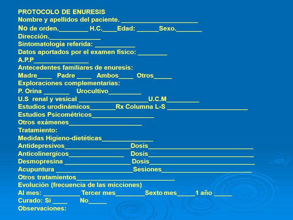 PROTOCOLO DE ENURESIS Nombre y apellidos del paciente. _____________________.