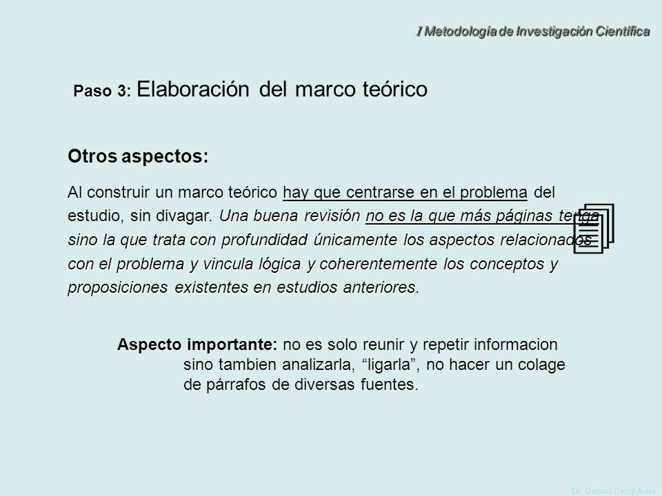Otros aspectos: Paso 3: Elaboración del marco teórico