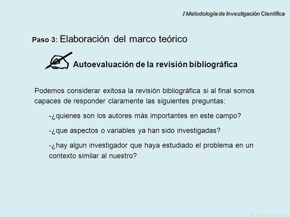 Autoevaluación de la revisión bibliográfica