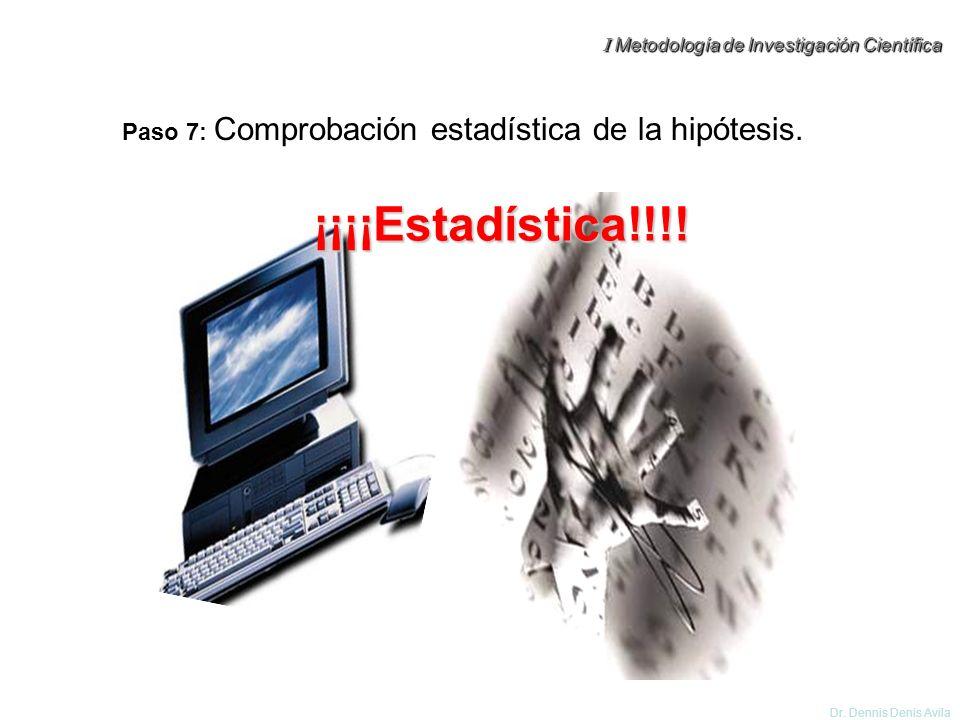 Paso 7: Comprobación estadística de la hipótesis.