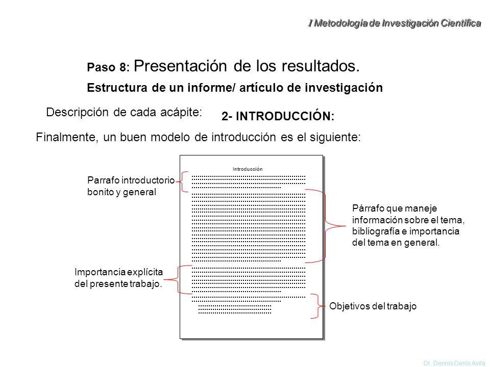 Estructura de un informe/ artículo de investigación