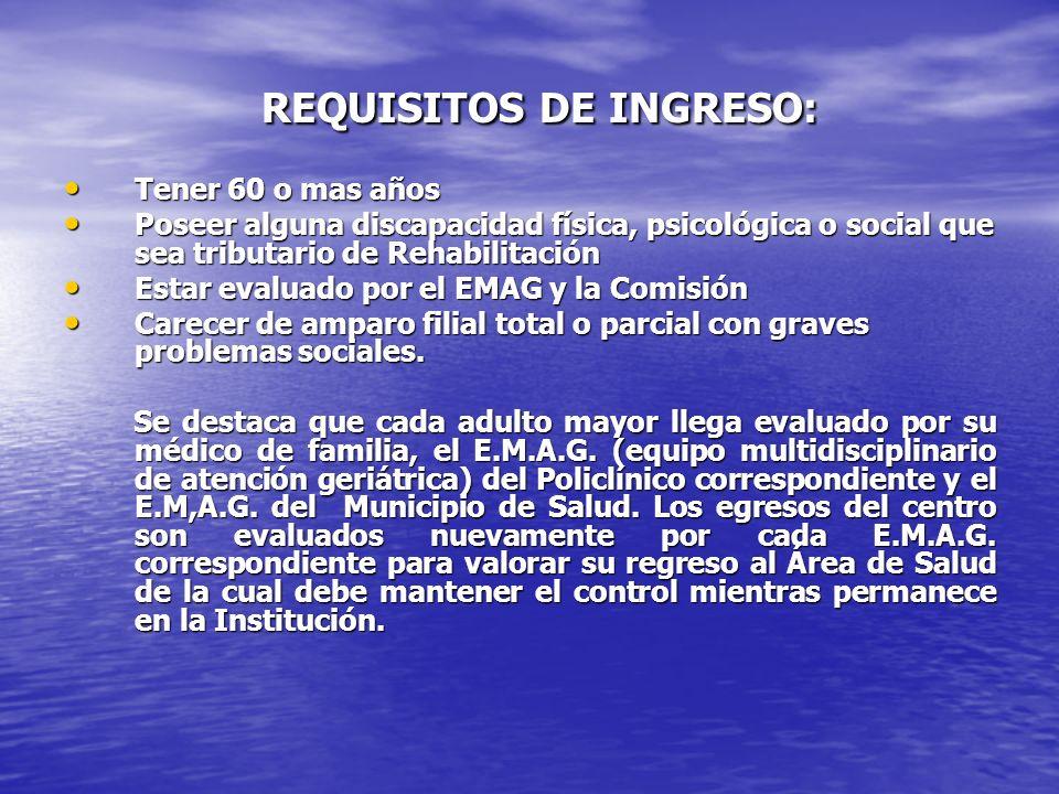 REQUISITOS DE INGRESO: