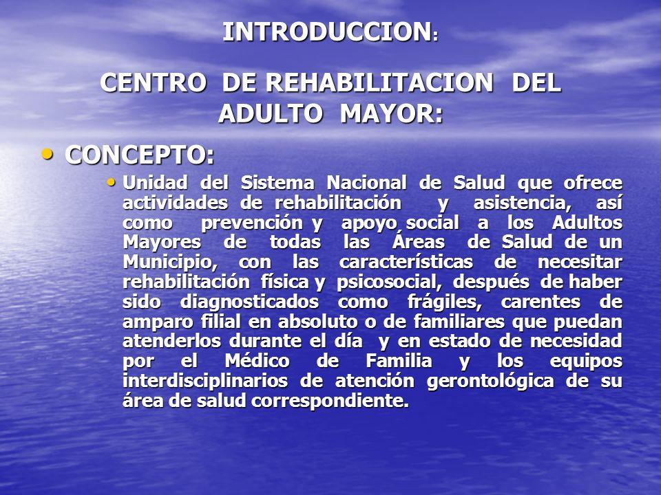 INTRODUCCION: CENTRO DE REHABILITACION DEL ADULTO MAYOR: