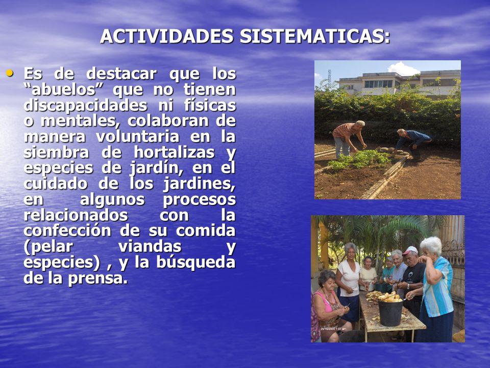 ACTIVIDADES SISTEMATICAS: