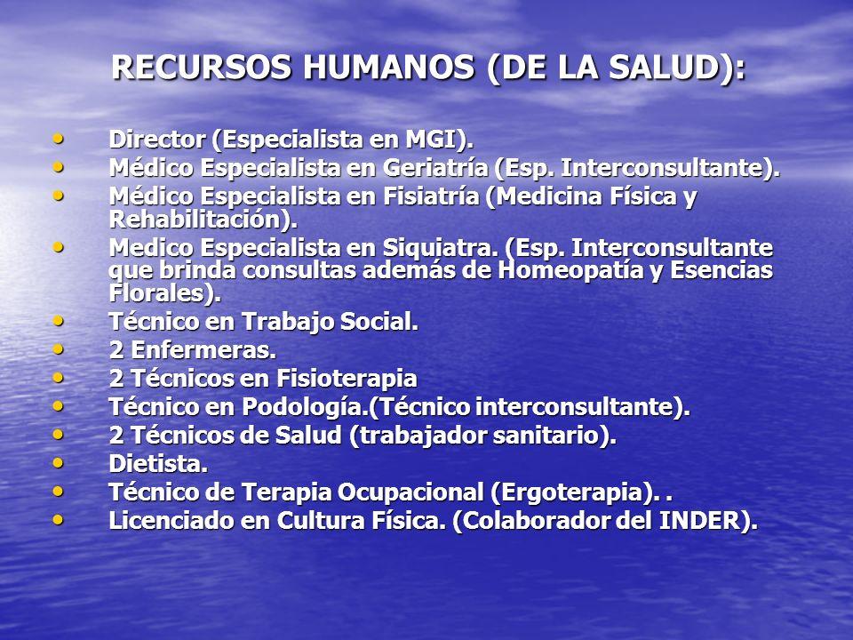 RECURSOS HUMANOS (DE LA SALUD):