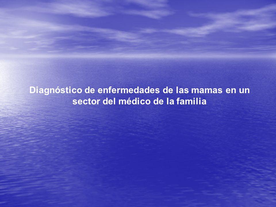 Diagnóstico de enfermedades de las mamas en un sector del médico de la familia