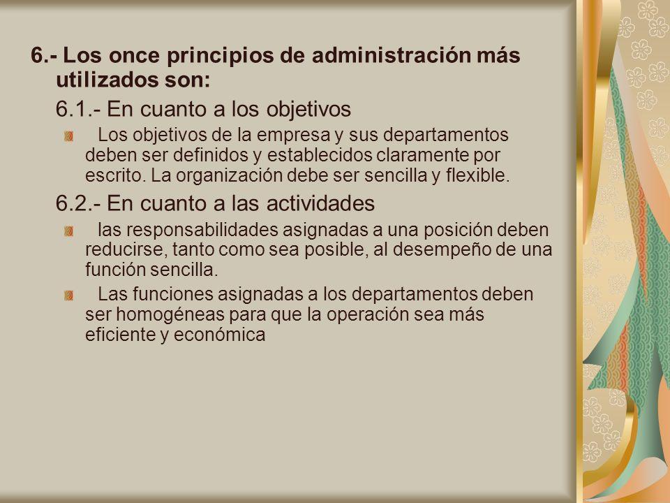 6.- Los once principios de administración más utilizados son: