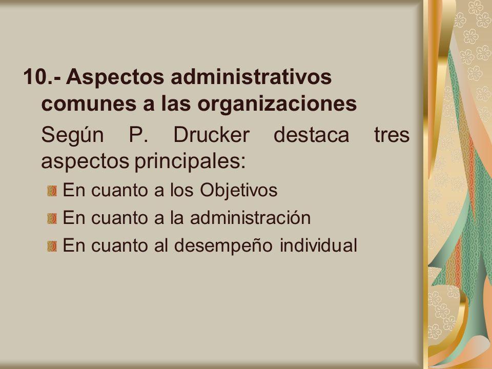 10.- Aspectos administrativos comunes a las organizaciones