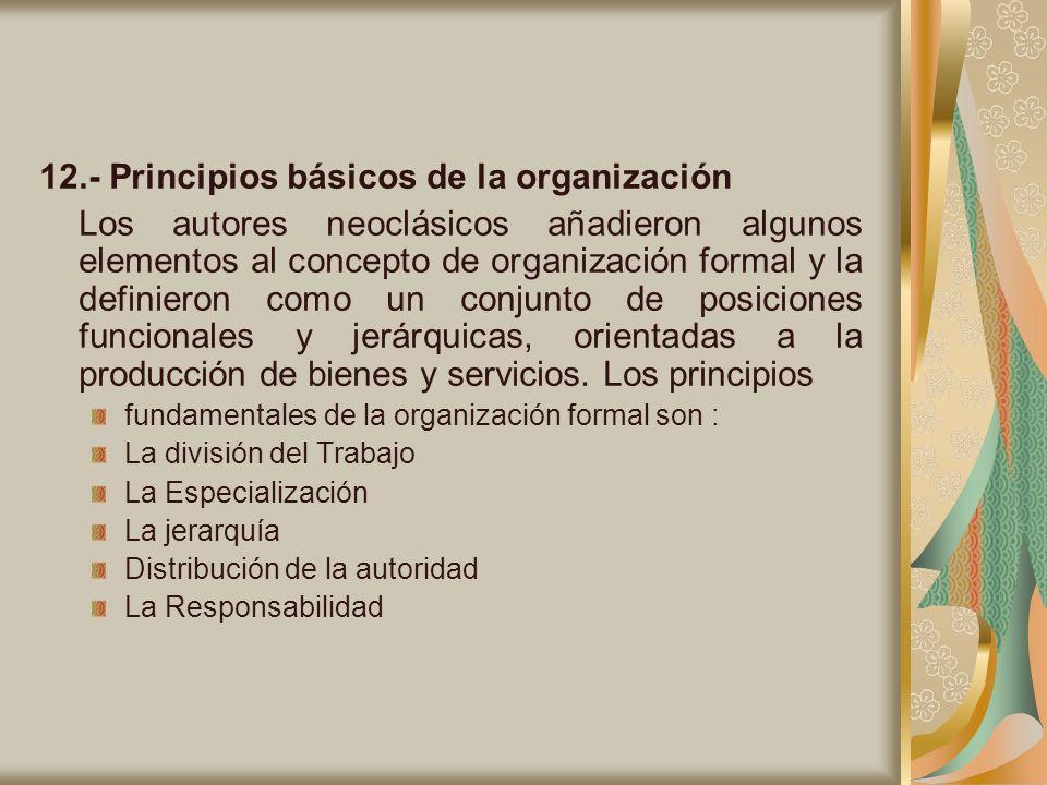 12.- Principios básicos de la organización
