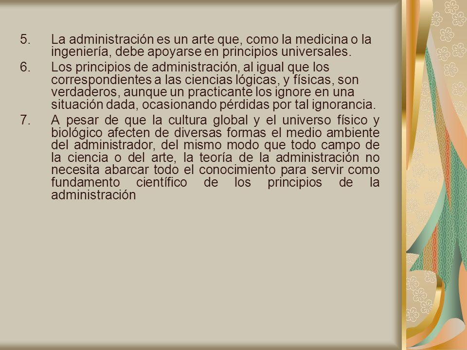 La administración es un arte que, como la medicina o la ingeniería, debe apoyarse en principios universales.