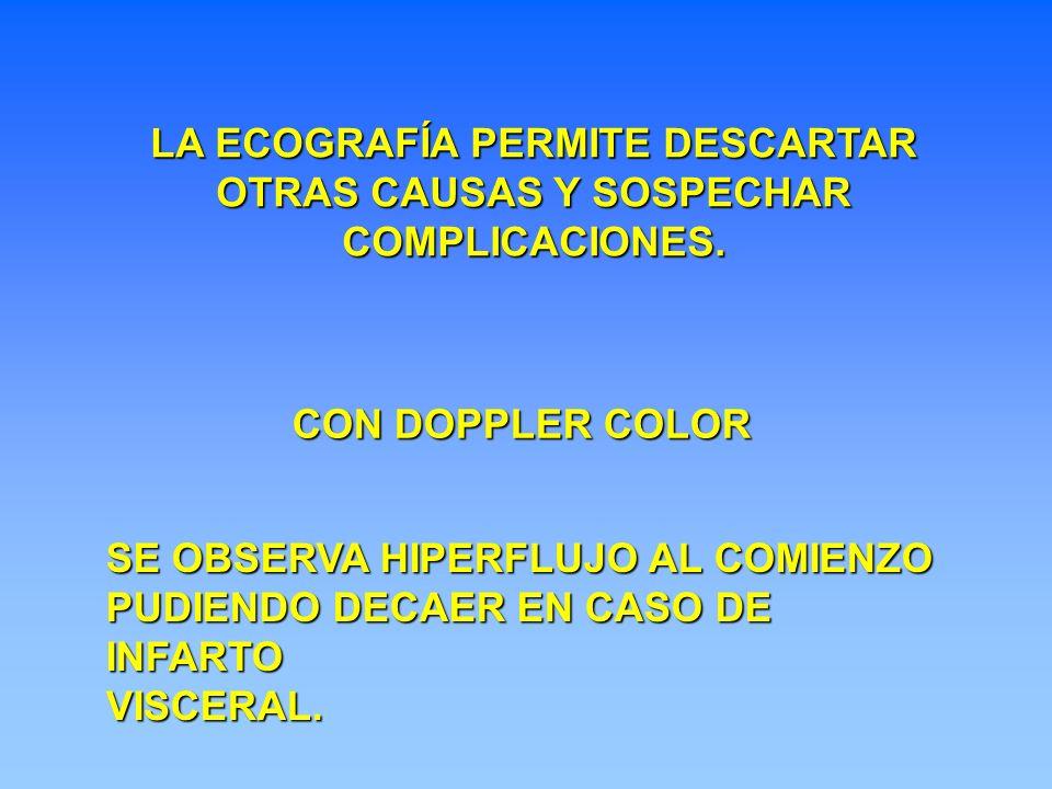 LA ECOGRAFÍA PERMITE DESCARTAR OTRAS CAUSAS Y SOSPECHAR COMPLICACIONES.