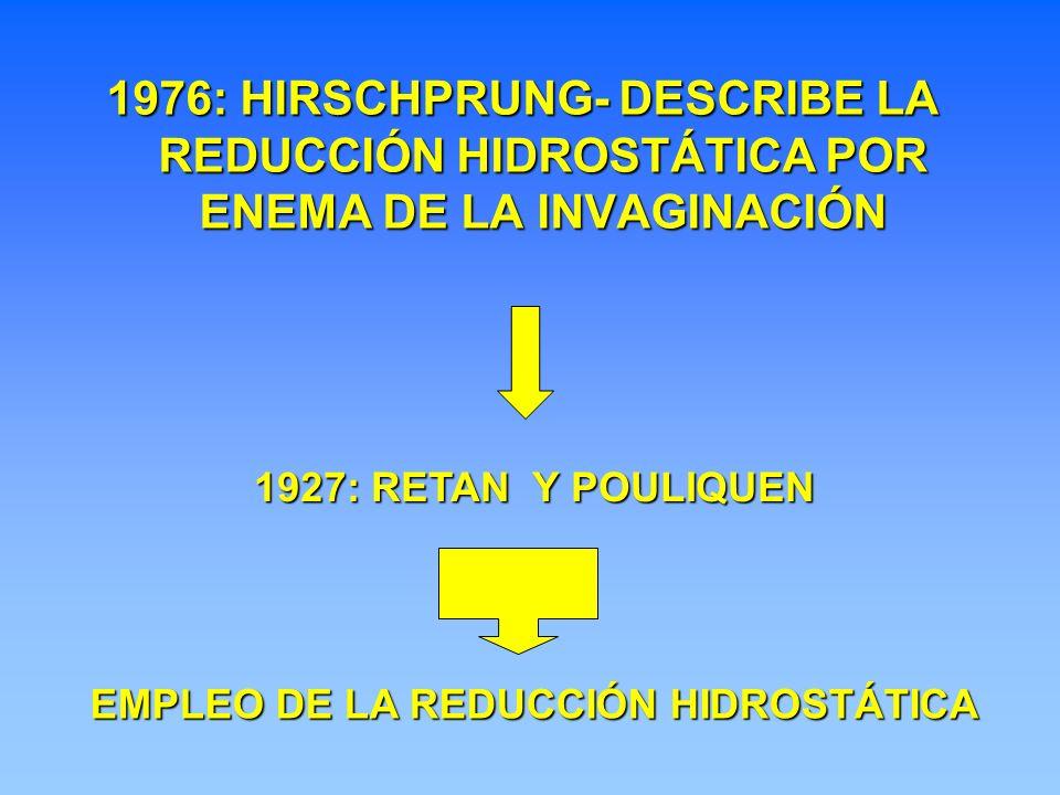 1976: HIRSCHPRUNG- DESCRIBE LA REDUCCIÓN HIDROSTÁTICA POR ENEMA DE LA INVAGINACIÓN