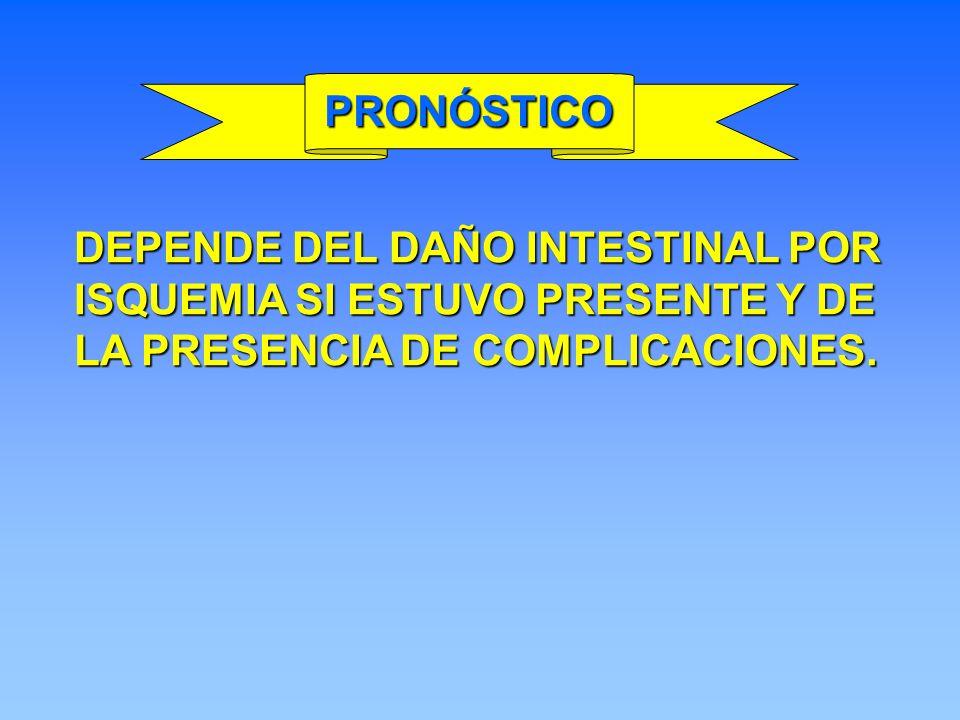 PRONÓSTICO DEPENDE DEL DAÑO INTESTINAL POR ISQUEMIA SI ESTUVO PRESENTE Y DE LA PRESENCIA DE COMPLICACIONES.