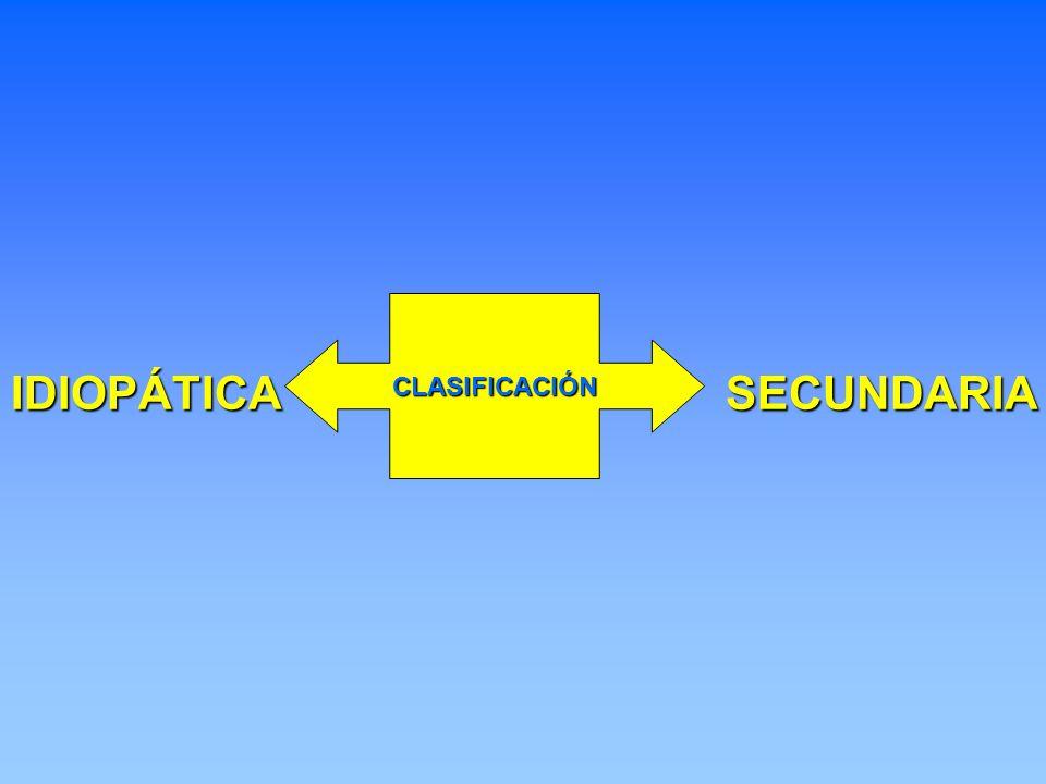 CLASIFICACIÓN IDIOPÁTICA SECUNDARIA