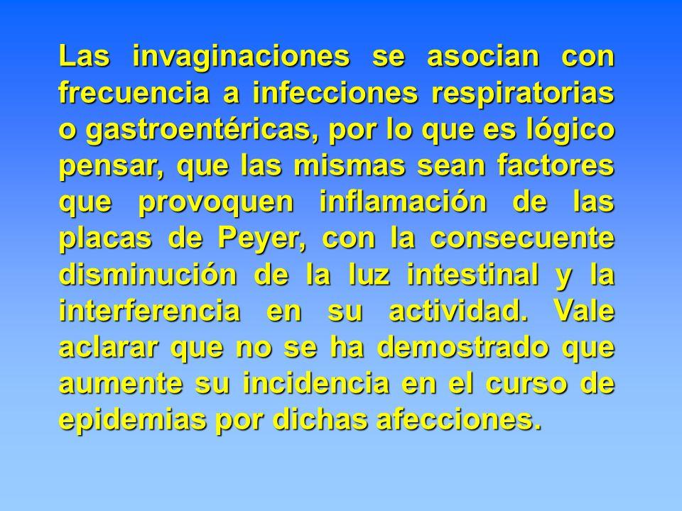 Las invaginaciones se asocian con frecuencia a infecciones respiratorias o gastroentéricas, por lo que es lógico pensar, que las mismas sean factores que provoquen inflamación de las placas de Peyer, con la consecuente disminución de la luz intestinal y la interferencia en su actividad.