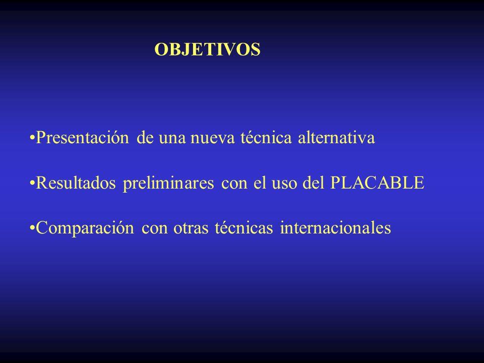 OBJETIVOS Presentación de una nueva técnica alternativa. Resultados preliminares con el uso del PLACABLE.