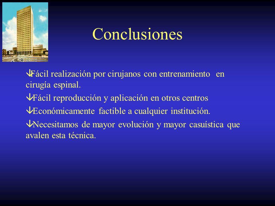 Conclusiones Fácil realización por cirujanos con entrenamiento en cirugía espinal. Fácil reproducción y aplicación en otros centros.