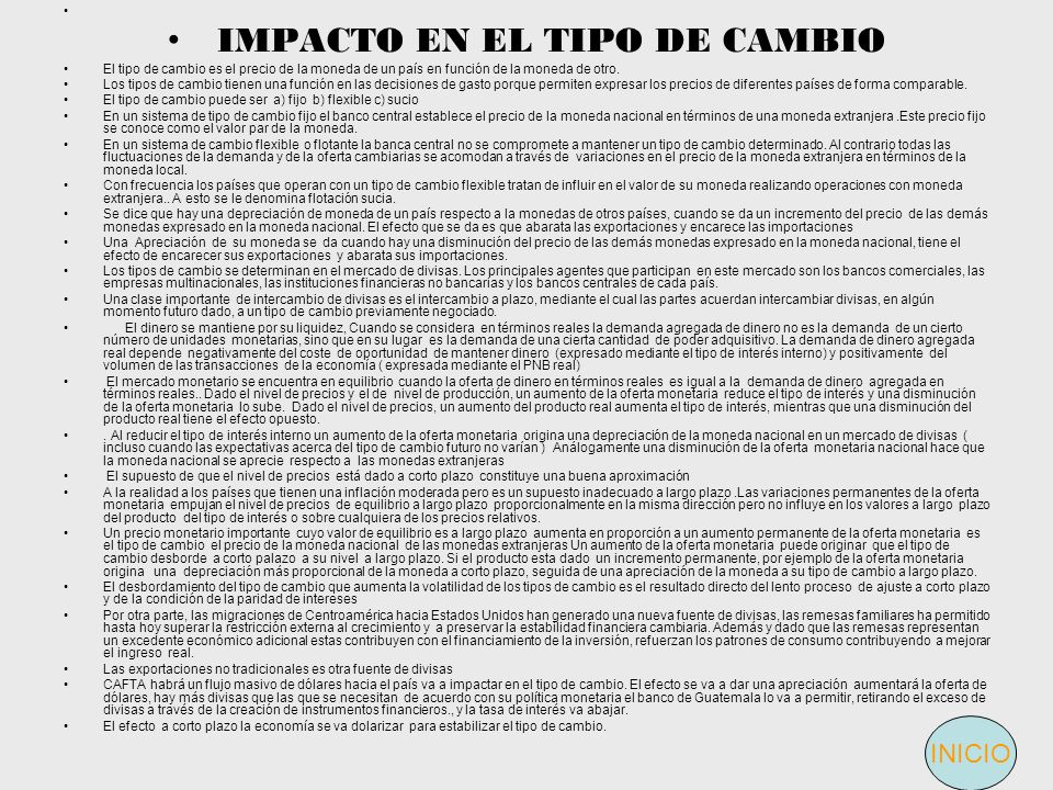 IMPACTO EN EL TIPO DE CAMBIO