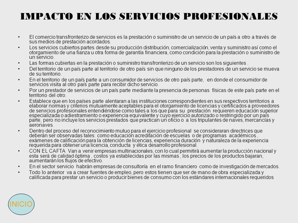 IMPACTO EN LOS SERVICIOS PROFESIONALES