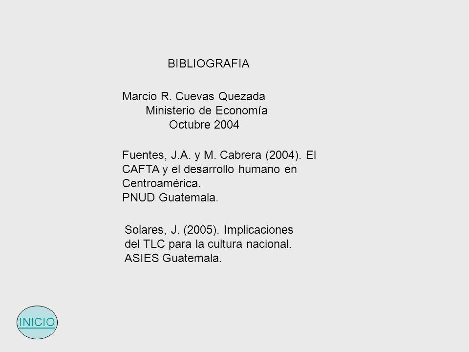 BIBLIOGRAFIA Marcio R. Cuevas Quezada. Ministerio de Economía. Octubre 2004.