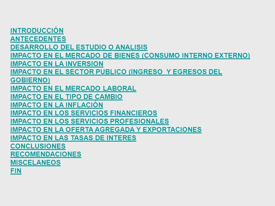 INTRODUCCIÓN ANTECEDENTES. DESARROLLO DEL ESTUDIO O ANALISIS. IMPACTO EN EL MERCADO DE BIENES (CONSUMO INTERNO EXTERNO)