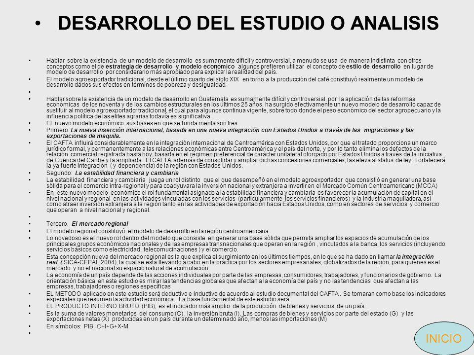 DESARROLLO DEL ESTUDIO O ANALISIS