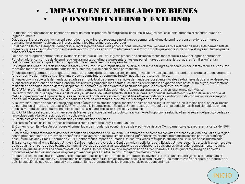 . IMPACTO EN EL MERCADO DE BIENES (CONSUMO INTERNO Y EXTERNO)