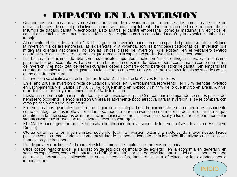 IMPACTO EN LA INVERSION