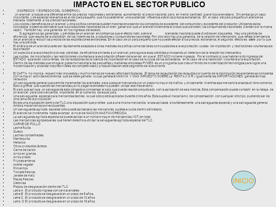 IMPACTO EN EL SECTOR PUBLICO