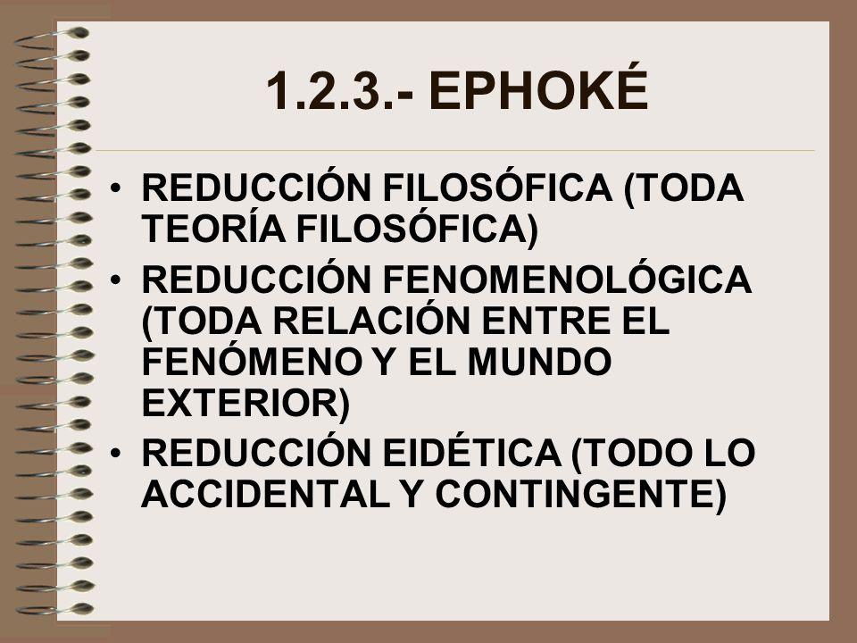 1.2.3.- EPHOKÉ REDUCCIÓN FILOSÓFICA (TODA TEORÍA FILOSÓFICA)
