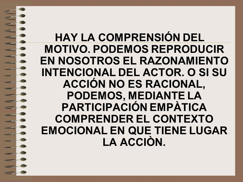HAY LA COMPRENSIÓN DEL MOTIVO