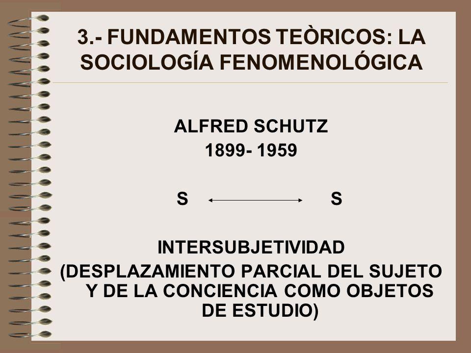 3.- FUNDAMENTOS TEÒRICOS: LA SOCIOLOGÍA FENOMENOLÓGICA