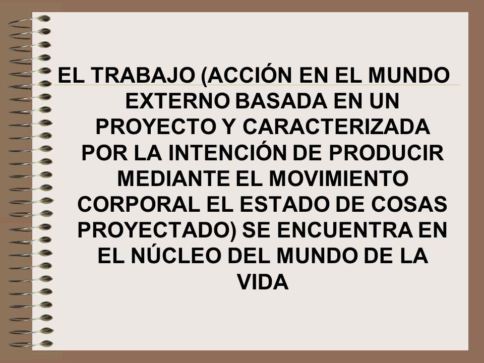 EL TRABAJO (ACCIÓN EN EL MUNDO EXTERNO BASADA EN UN PROYECTO Y CARACTERIZADA POR LA INTENCIÓN DE PRODUCIR MEDIANTE EL MOVIMIENTO CORPORAL EL ESTADO DE COSAS PROYECTADO) SE ENCUENTRA EN EL NÚCLEO DEL MUNDO DE LA VIDA