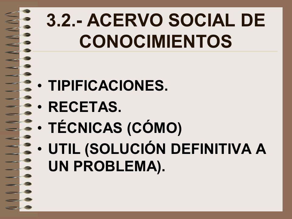 3.2.- ACERVO SOCIAL DE CONOCIMIENTOS